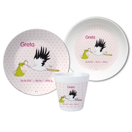 geschirrset-Baby-Storch-Rosa